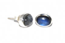 Rainbow Moonstone Earrings Silver Oval Studs
